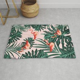 Summer Flamingo Jungle Vibes #1 #tropical #decor #art #society6 Rug