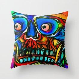 Skull Graffiti Street Art Camden London Throw Pillow