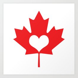 Canada Day Maple and Heart Art Print