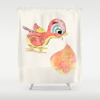 birdy Shower Curtains featuring Birdy by la belette rose