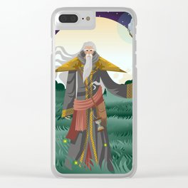 old wise magician with staff Clear iPhone Case