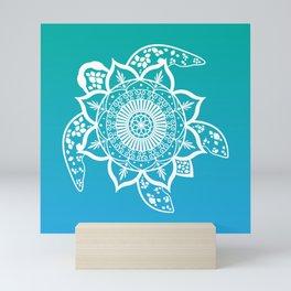 Mandala Turtle Pattern Teal Mini Art Print