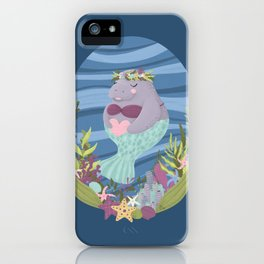 Sweet Manatee Mermaid iPhone Case