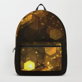 Shiny Gold Hexagon Geometric Patterns Backpack