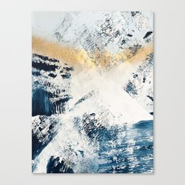 Sunset [1]: a bright, colorful abstract piece in blue, gold, and white by Alyssa Hamilton Art Canvas Print