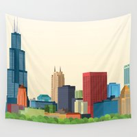 chicago Wall Tapestries featuring Chicago by GoFe