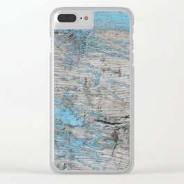 Peeled Blue Paint on Wood rustic decor Clear iPhone Case