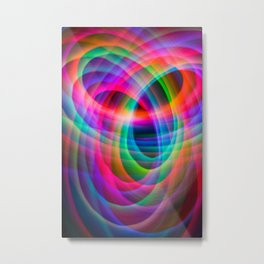 Spirograph rainbow light painting Metal Print