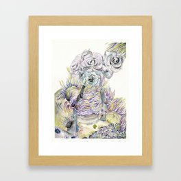Roses and Sea Anemones Framed Art Print