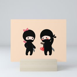 Tiny Ninja Boy and Girl Mini Art Print