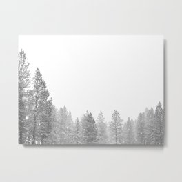 Winterland // Snowy Landscape Photography White Out Winter Pine Tree Artwork Metal Print