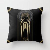 art deco Throw Pillows featuring Art Deco by Mrs.Kirki