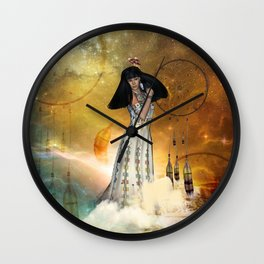 Beautiful amarican indian with dreamcatcher Wall Clock
