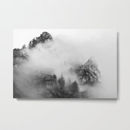 back and white mountains Metal Print