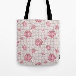 Pink Roses on Dots Basket Weave Tote Bag