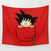 goku Wall Tapestries featuring Pocket Son Goku by Unicity