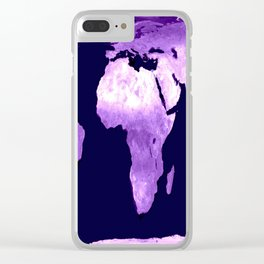 Purple World Map Clear iPhone Case