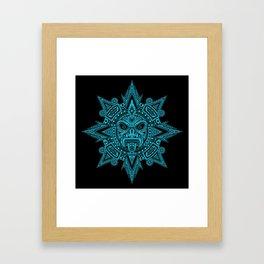 Ancient Blue and Black Aztec Sun Mask Framed Art Print