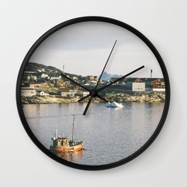 disko boat - greenland Wall Clock