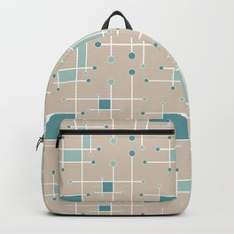Intersecting Lines in Tan, Turquoise and Sea Foam Backpack