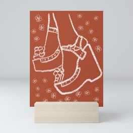 Seventies Fashion Sandals in Orange Mini Art Print