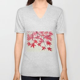 red maple leaves watercolor painting Unisex V-Neck