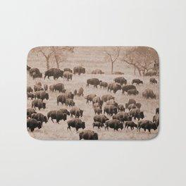 Buffalo Herd in Sepia Bath Mat