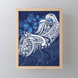 Blue Hawaiian - Samoan - Polynesian Tribal Tiare Print Framed Mini Art Print
