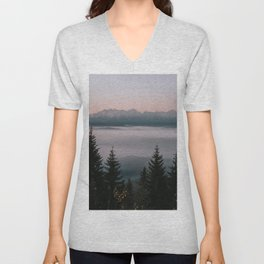 Faraway Mountains - Landscape and Nature Photography Unisex V-Neck