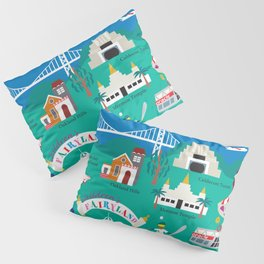 Oakland, California - Collage Illustration by Loose Petals Pillow Sham