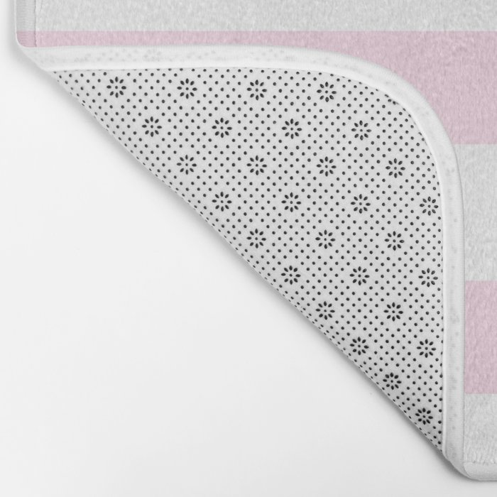 Pink Stripes on white- Beautiful luxury pattern Bath Mat