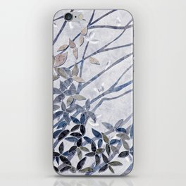Kimono Inspired leaves and branches print blue toned iPhone Skin