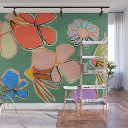 VINTAGE GARDEN GREEN Wall Mural