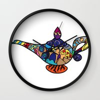 aladdin Wall Clocks featuring Looking for the genie by Ilse S