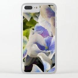 Hydrangea in Blue 3 - Close Up Like Butterflies Clear iPhone Case