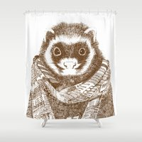 ferret Shower Curtains featuring Bad Weather Ferret by rich_hood