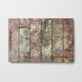 Old Times (World Map) Metal Print