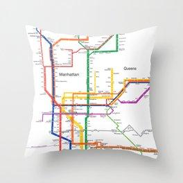 New York City subway map Throw Pillow