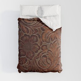 Burnished Rich Brown Tooled Leather Comforters