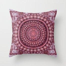 Boho Rosewood Mandala Throw Pillow