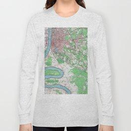 Vintage Map of Baton Rouge Louisiana (1963) Long Sleeve T-shirt