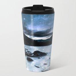 Magical Mountain Lake Steel Blue Gray Travel Mug
