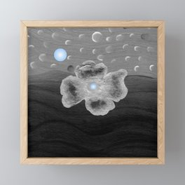 Blue Moon and poppy Framed Mini Art Print