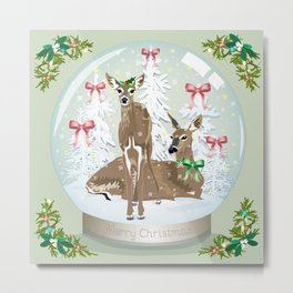 Snow globe deer Metal Print