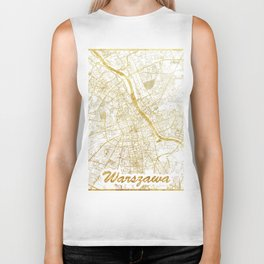 Warszawa Map Gold Biker Tank