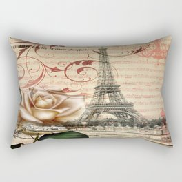 vintage chandelier white rose music notes Paris eiffel tower Rectangular Pillow