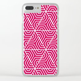 UA red - fuchsia - Geometric Seamless Triangles Pattern Clear iPhone Case