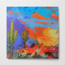 Saguaros Land Sunset - square version Metal Print