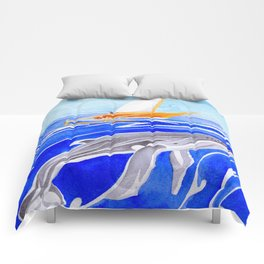 humpback whale and polynesian outrigger sail boat Comforters
