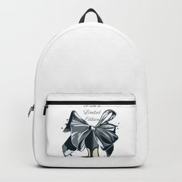 Fashion illustration with high heel shoe and bow. I am limited edition Backpack